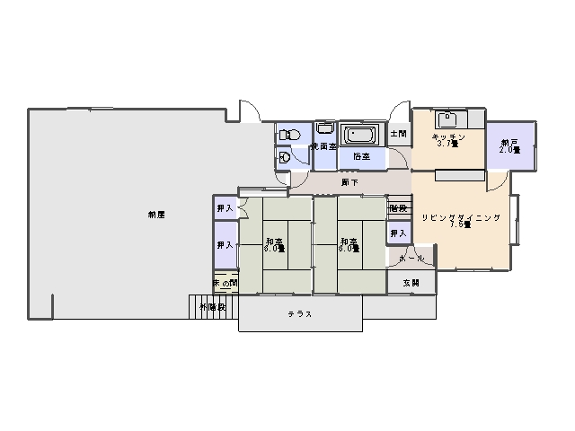 古家 1階間取り図